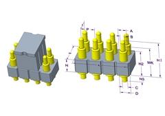2x4P Pogo Pin连接器